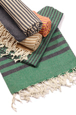 Load image into Gallery viewer, Fethiye Striped Ultra Soft Eco-Friendly Turkish Towel - Green & Navy Blue - Zip & Mos