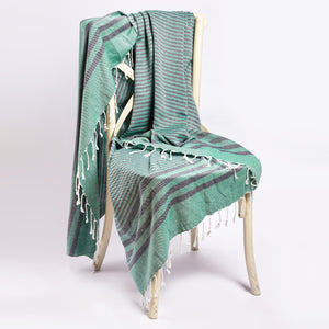 Fethiye Striped Ultra Soft Blanket Throw - Green - Zip & Mos