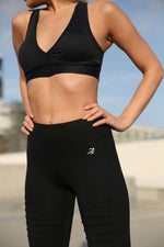 Load image into Gallery viewer, Athletique Low-Waisted Ribbed Leggings With Hidden Pocket and Mesh Panels - Black - Zip & Mos