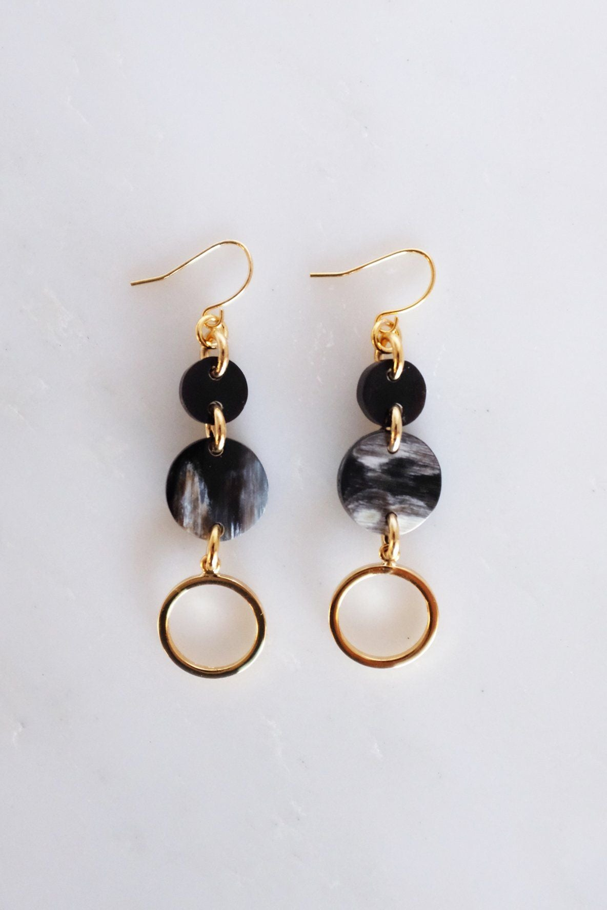 Ba Be Crescent Drop Buffalo Horn Dangle Earrings - Zip & Mos