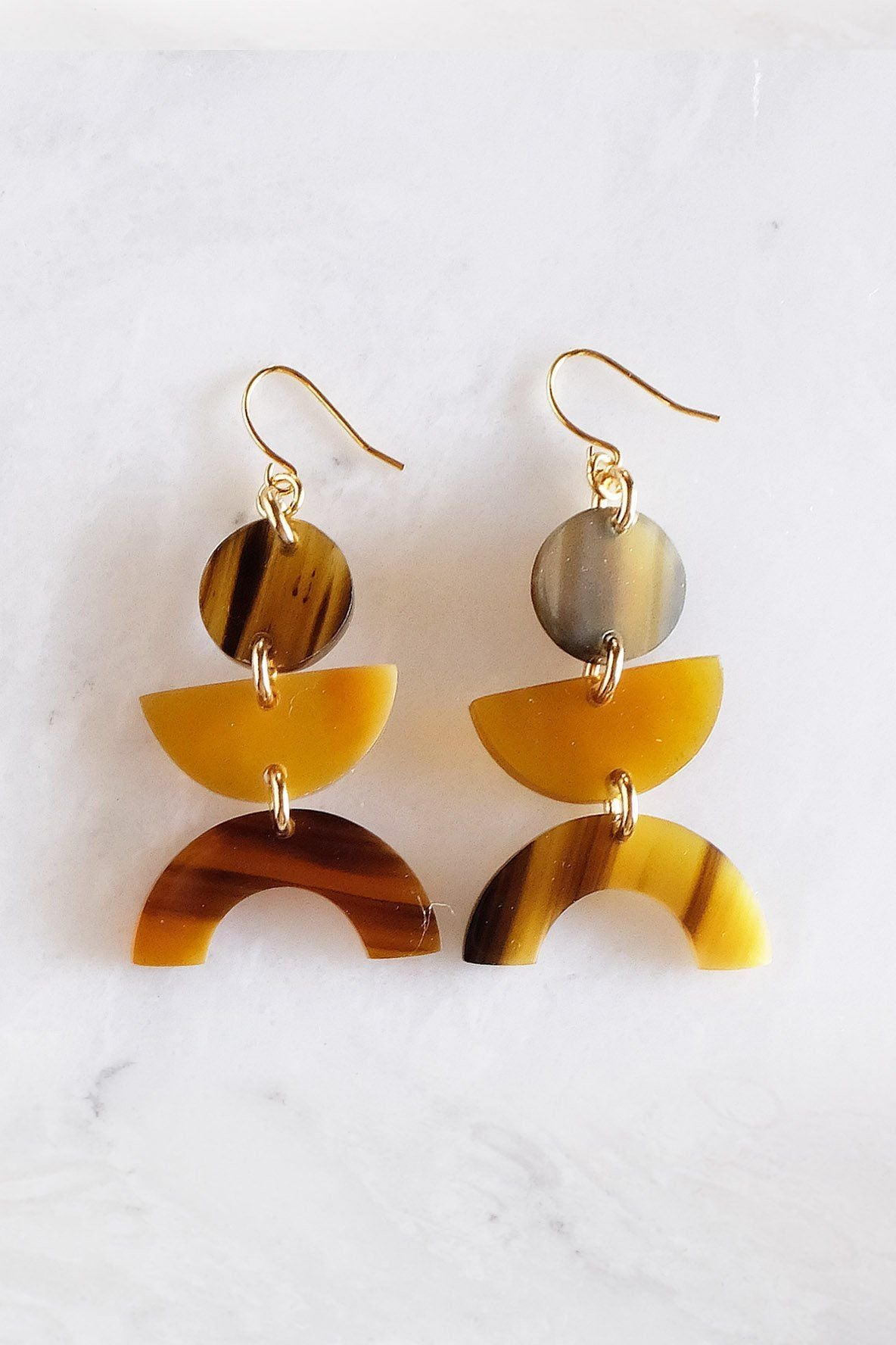 Vui Mung Geometric Buffalo Horn Statement Earrings - Zip & Mos