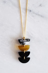 Hanoi Crescent Buffalo Horn Pendant Necklace - Zip & Mos