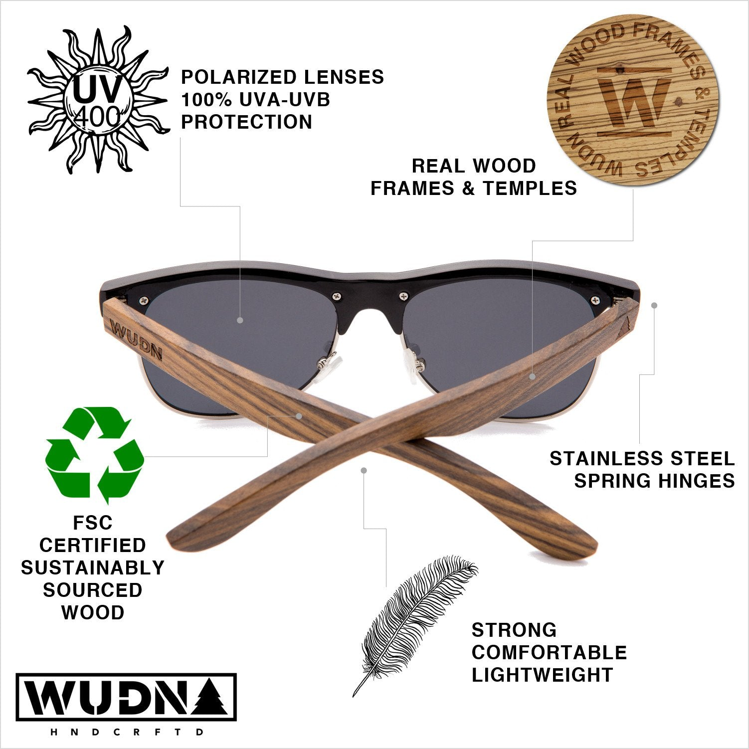 Real Zebra Wood Browline Style RetroShade Sunglasses by WUDN - Zip & Mos