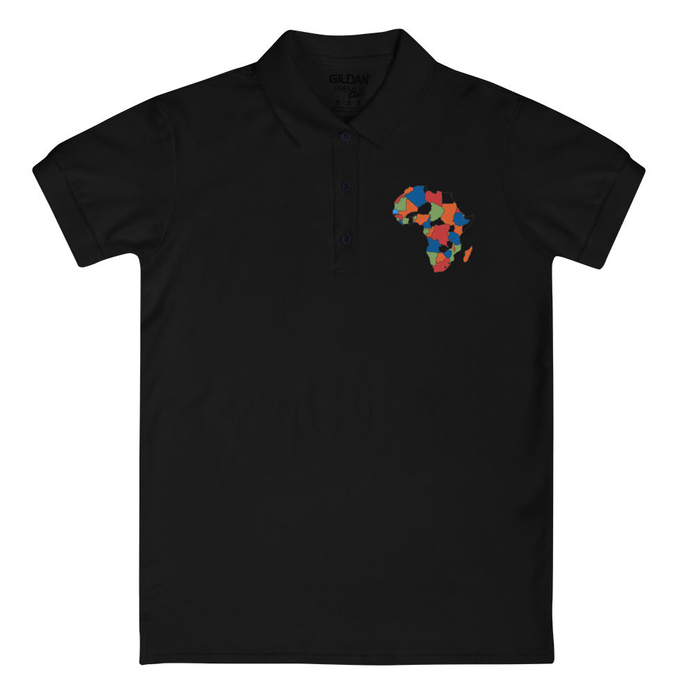 Mother Africa Embroidered Women's Polo Shirt - Zip & Mos