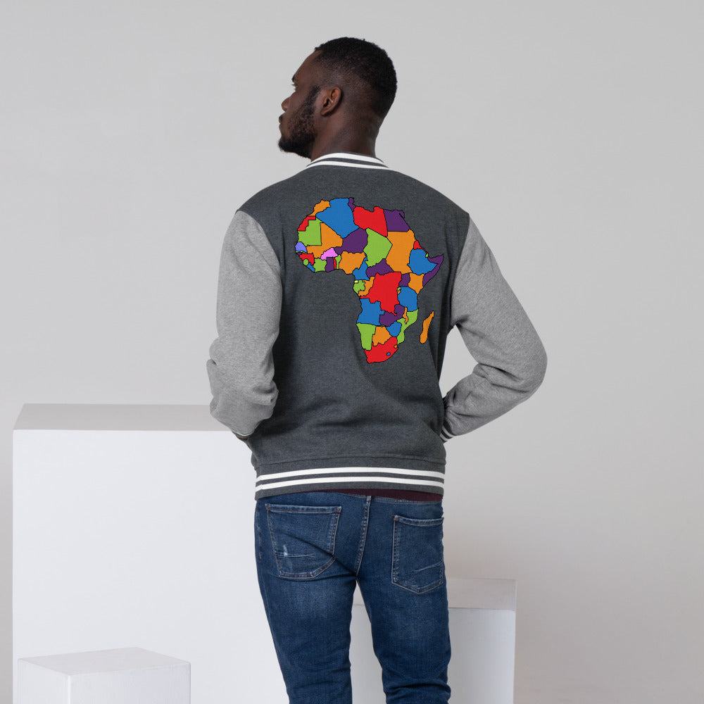 Africa Men's Letterman Jacket - Zip & Mos