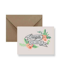 Congrats You Did It Greeting Card - Zip & Mos