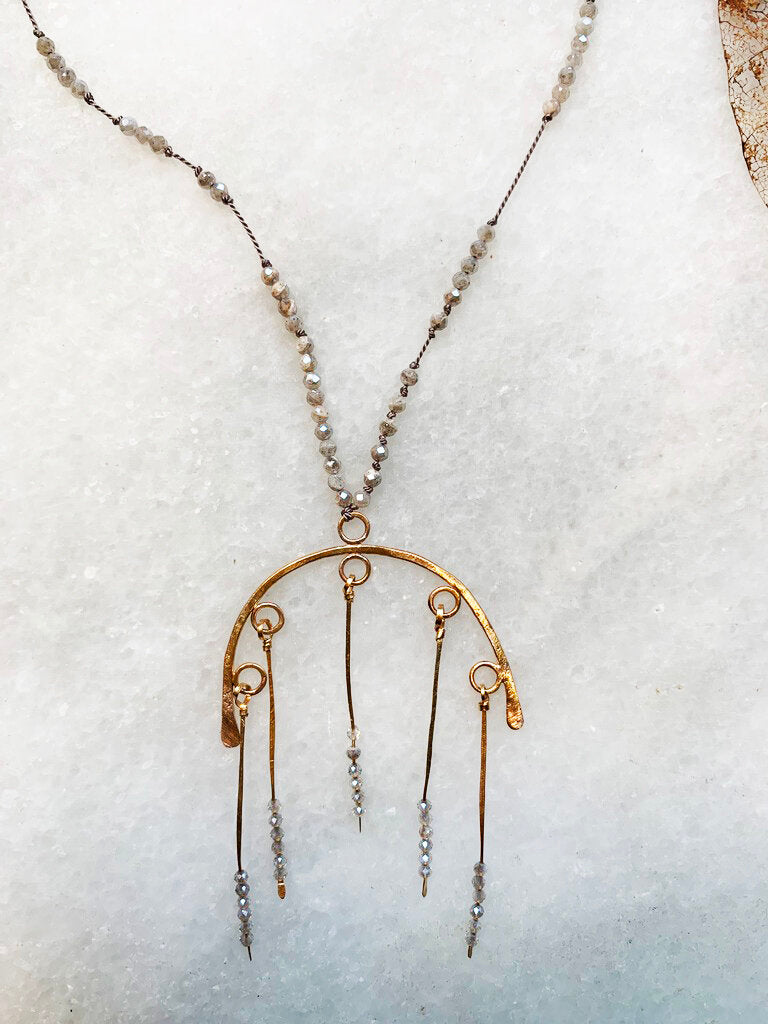 Golden Arch Labradorite Necklace - Zip & Mos