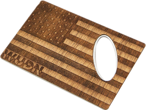 American Flag Wood Credit Card Bottle Opener - Zip & Mos