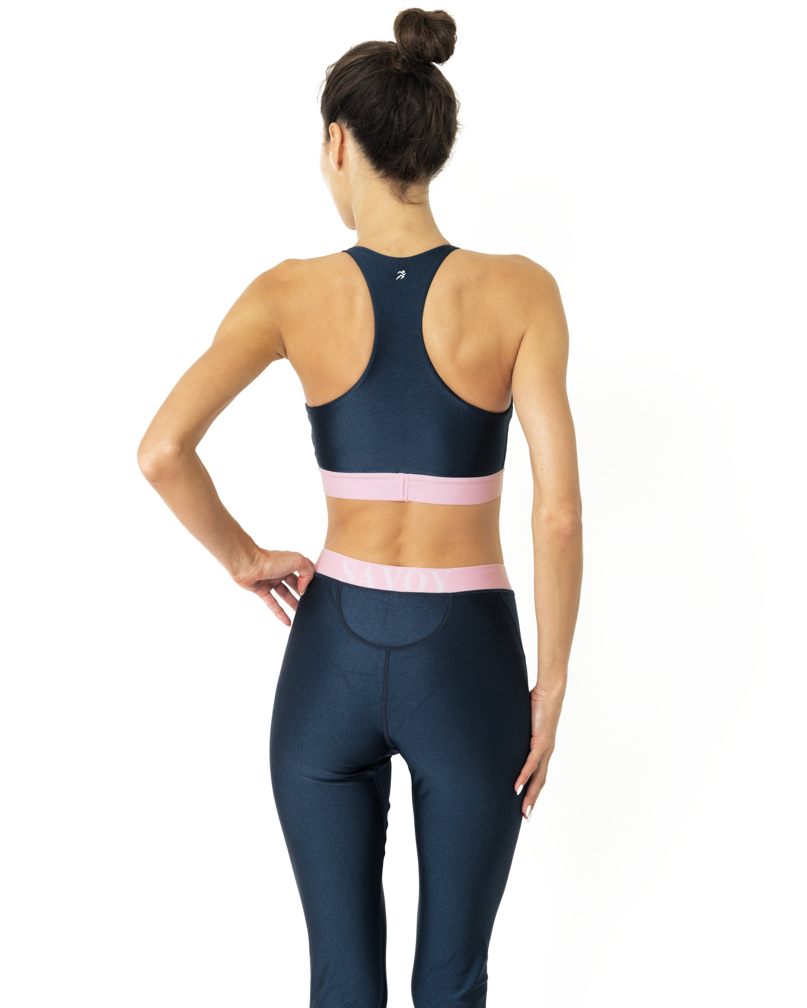 Hudson Two Piece Workout Set - Sports Crop Bra and Mid Rise Leggings - Zip & Mos
