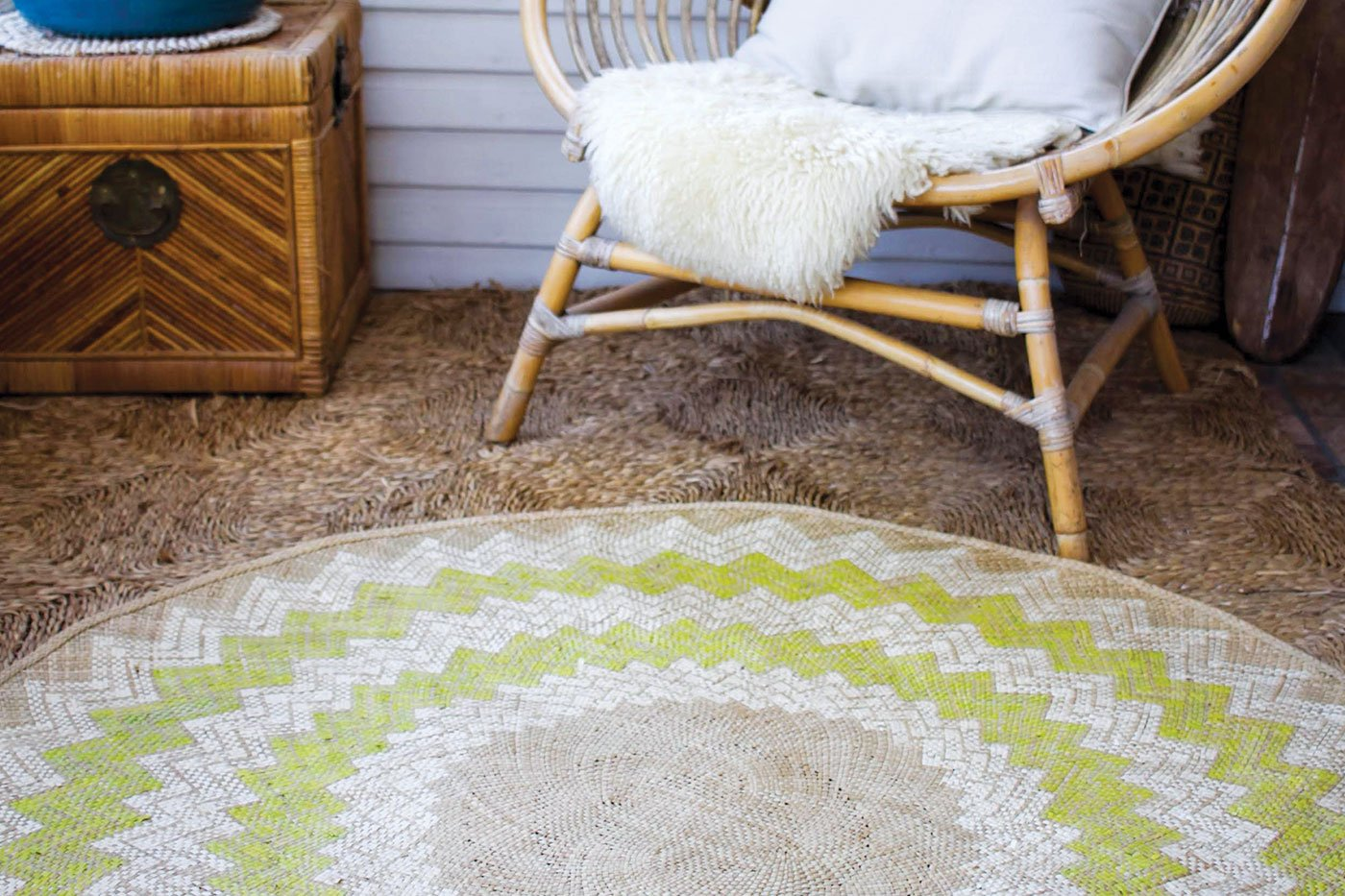 Sunburst Mat | 4' Round | Natural Base | Lime Green - Zip & Mos