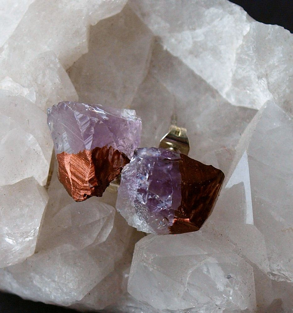 Bronze & Raw Amethyst Chunk Earrings, Geo Earrings, Rock Stud Earrings, Crystal Earrings - Zip & Mos