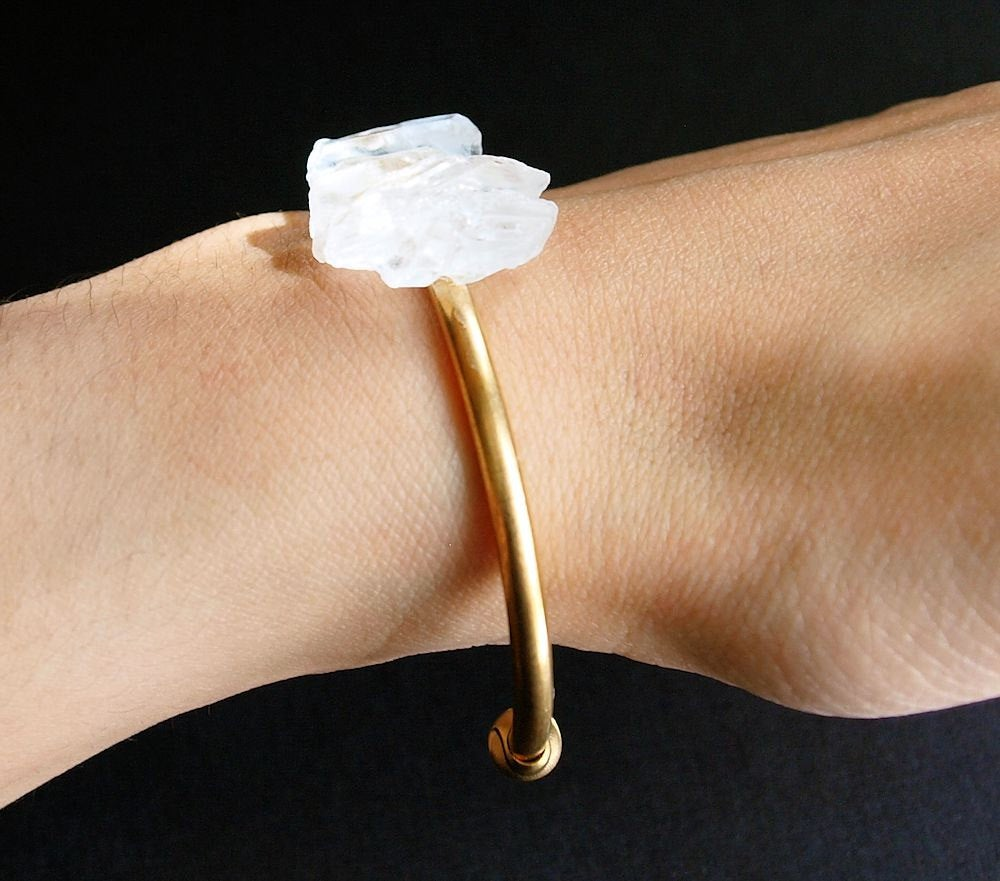Quartz and Gold Bangle, Quartz Bracelet - Zip & Mos