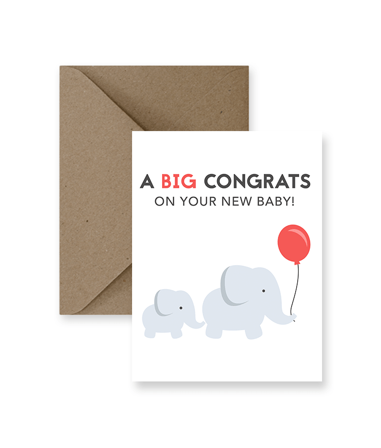 A Big Congrats On Your New Baby Card - Zip & Mos
