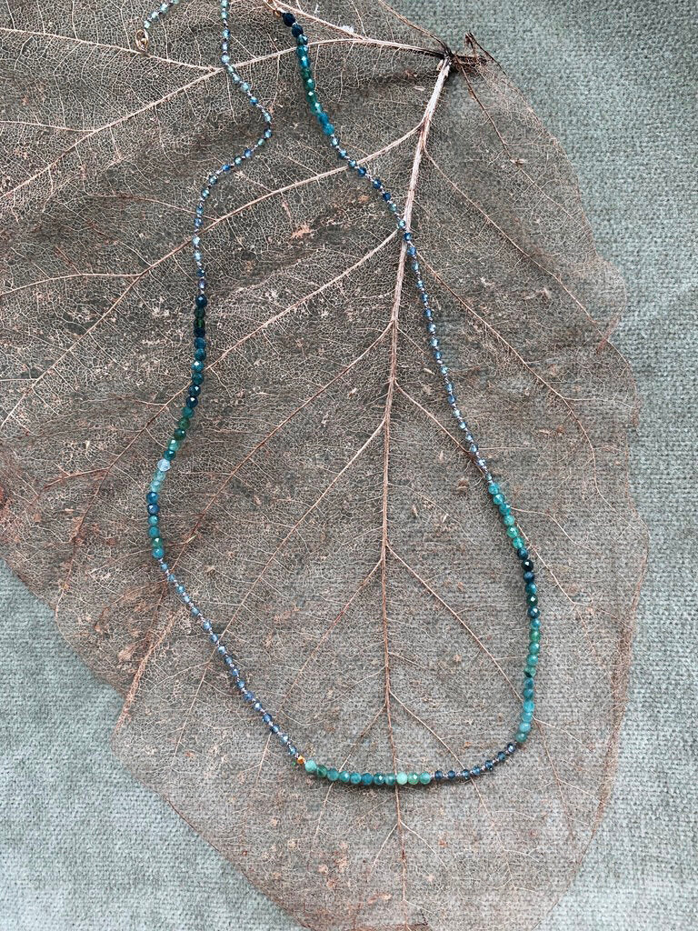 "Blue/Green Tourmaline Necklace 18-20"" - Zip & Mos"