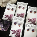 Load image into Gallery viewer, Bronze & Raw Amethyst Chunk Earrings, Geo Earrings, Rock Stud Earrings, Crystal Earrings - Zip & Mos