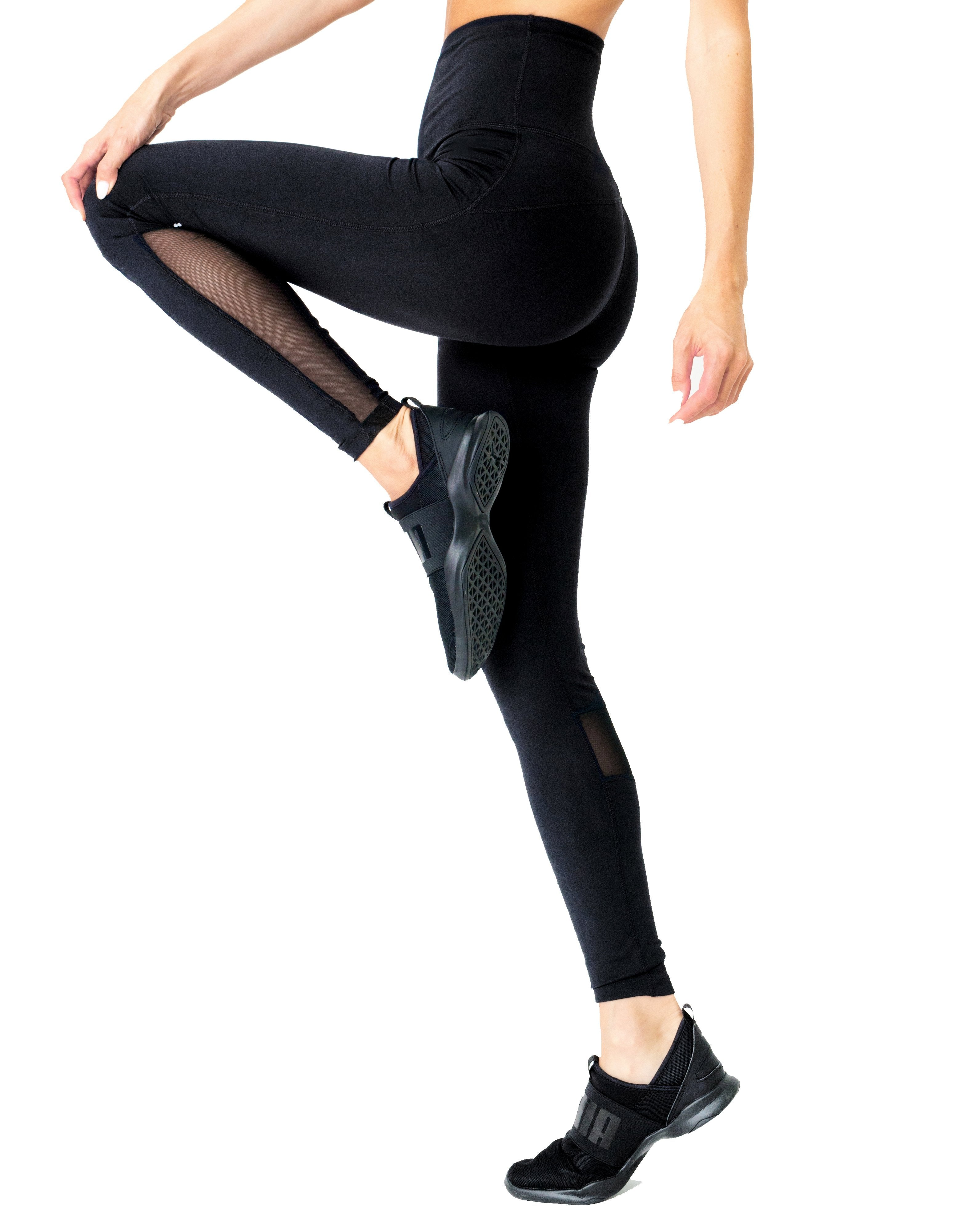 Energique Athletic Leggings With Reflective Strips and Mesh Panels - Zip & Mos
