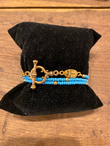 Blue and Gold Wrap Bracelet