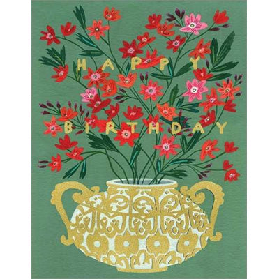 Becca Stadtlander Card - Happy Birthday Golden Vase