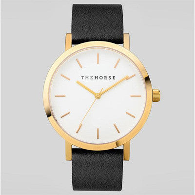 The Horse Watch Original - Polished Gold/White Face/Black Band