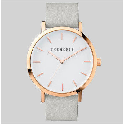 The Horse Watch Original - Polished Rose Gold/White Face/Grey Band