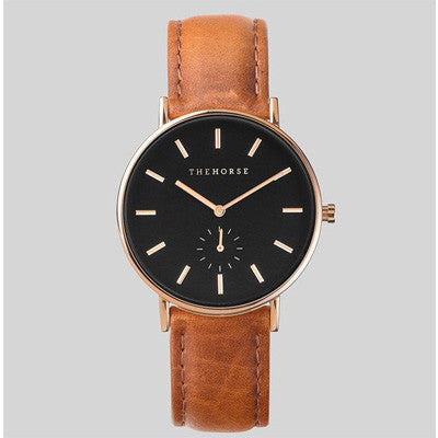 The Horse Watch Classic - Rose Gold/Black Face/Tan Leather