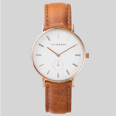 The Horse Watch Classic - Rose Gold/White Face/Tan Leather