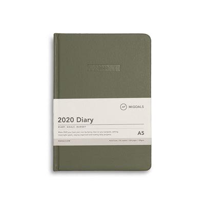 2020 Diary - Mi Goals Khaki A5 Hard Cover