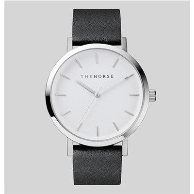 The Horse Watch Polished Steel / Black Leather