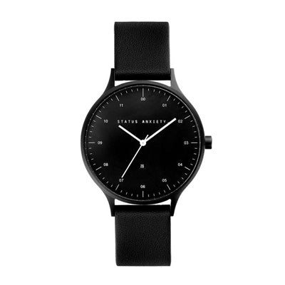 Status Anxiety Inertia Watch - Matte Black/Black Face/Black Leather Strap