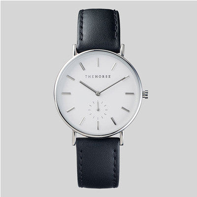 The Horse Watch The Classic - Silver / Black Leather