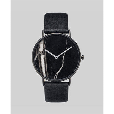 The Horse Watch Stone - Black Marble/Black Leather