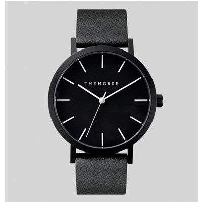 The Horse All Black Leather Watch