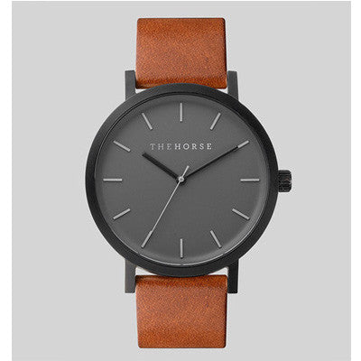 The Horse Watch Matte Black / Tan Leather