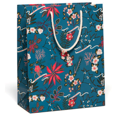 Red Cap Gift Bag - Blue Poinsettia