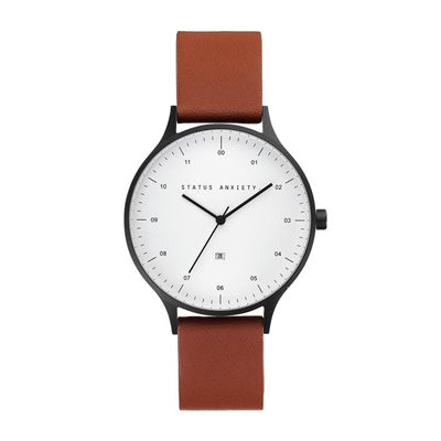 Status Anxiety Inertia Watch - Matte Black/White Face/Tan Leather Strap