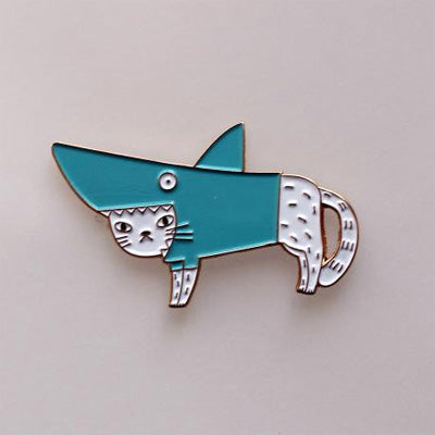 Surfing Sloth Pins - Shark Cat - White
