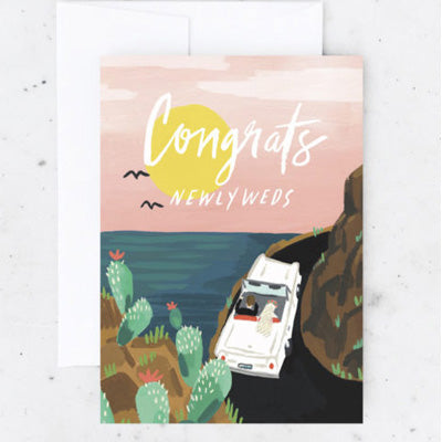 Idlewild Card - Congrats Newlyweds Scenic Car