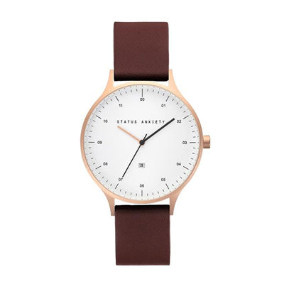 Status Anxiety Inertia Watch - Brushed Copper/White Face/Brown Leather Strap