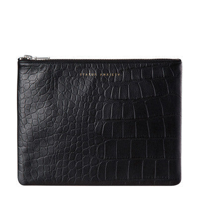 Status Anxiety Antiheroine Clutch - Black Croc