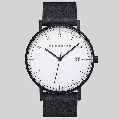 The Horse D-Series Watch - Matte Black Case / White Dial / Black Band