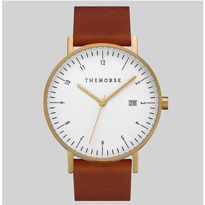 The Horse D-Series Watch - Brushed  Gold Case / Writer Dial / Coffee