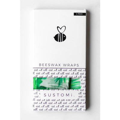 Sustomi Beeswax Wraps - Fronds Design (2 Pack)