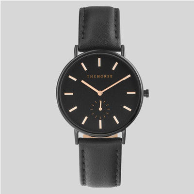 The Horse Watch Classic - Black Face/Rose Gold Indexing/Black Leather