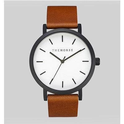 The Horse Watch Original  - Matte Black/White Face/Dark Tan Leather