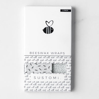 Sustomi Beeswax Wraps - Monochrome Design (2 Pack)