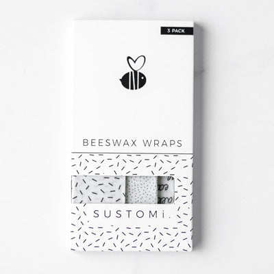 Sustomi Beeswax Wraps - Monochrome Design (3 Pack)