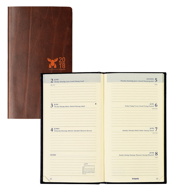 Brepols Moose 2021 Brown Leather Diaries - Pocket Size