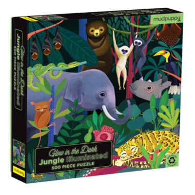 Mudpuppy - 500 Piece Glow In The Dark Puzzle : Jungle Illuminated