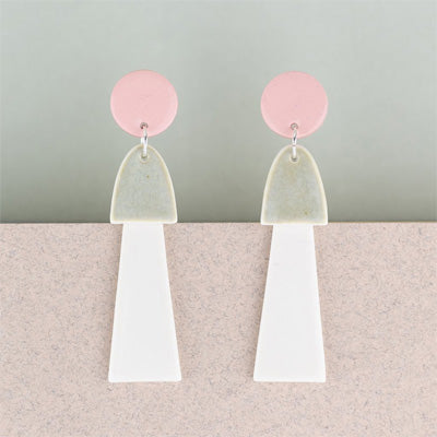 Erin Lightfoot Porcelain Earrings - Large Pink & Gold Tassels