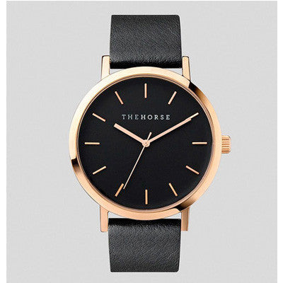 The Horse Watch Rose Gold / Black Face / Black Leather